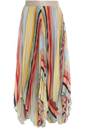 Missoni Women Midi Skirts - Woman Asymmetric Pleated Metallic Knitted Skirt Platinum Size 38