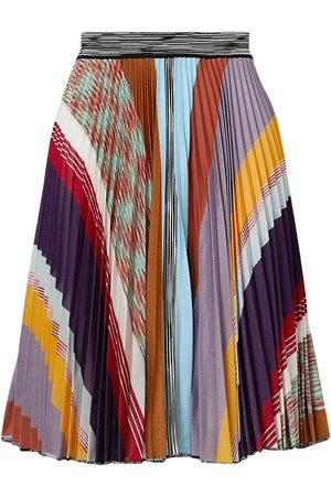 Missoni Woman Pleated Striped Crochet-knit Skirt Size 38