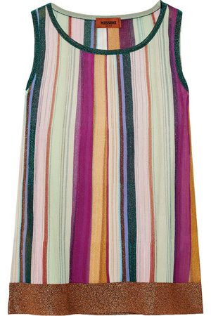 Missoni Woman Striped Metallic Crochet-knit Tank Size 36
