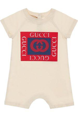 Gucci Logo Print Cotton Jersey Romper