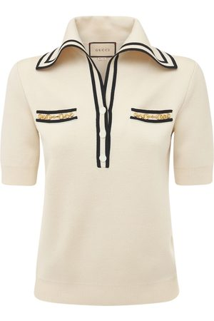 Gucci Women Polo Shirts - Logo Wool Jacquard Polo Shirt