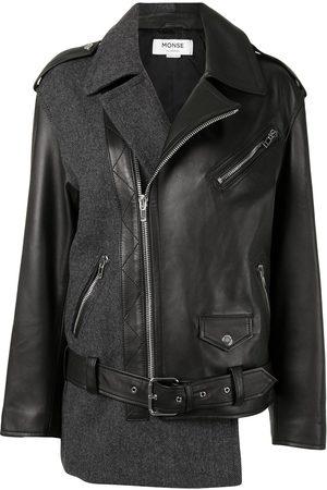 MONSE Women Leather Jackets - Patchwork herringbone leather biker jacket