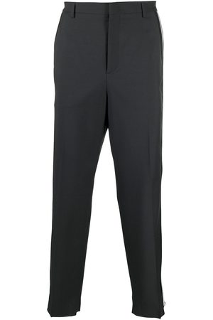 VALENTINO Men Formal Pants - Side-stripe wide-leg tailored trousers - Grey