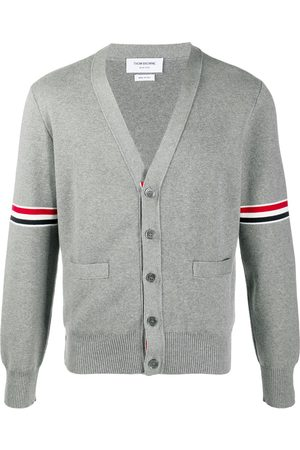 Thom Browne Men Cardigans - Tricolour 4-Bar cardigan - Grey