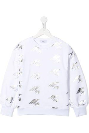 Msgm Metallic logo print sweatshirt