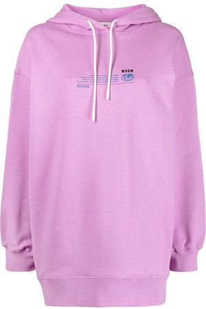 Msgm Women Hoodies - Graphic-print drawstring hoodie