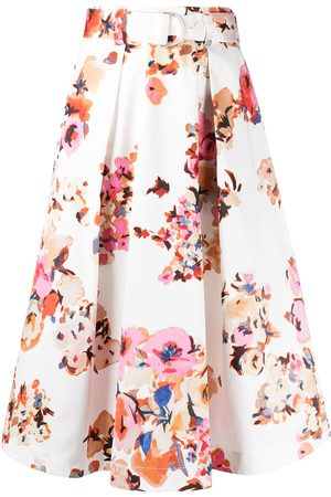 Msgm Floral print belted full skirt