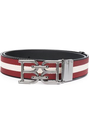 Bally Men Belts - B-Chain buckled striped belt