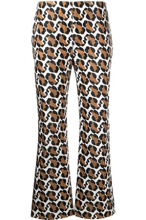 Fendi Stitched leopard pattern trousers