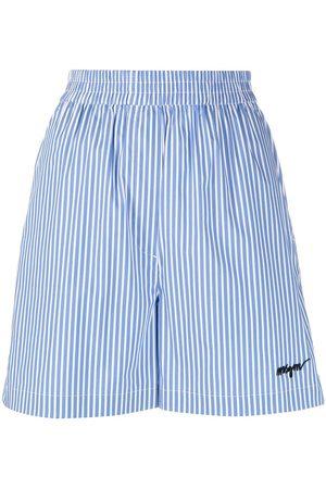 Msgm Women Shorts - Stripe-pattern elasticated shorts