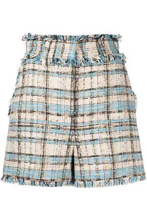 Msgm Women Shorts - Tweed high-rise shorts - Neutrals