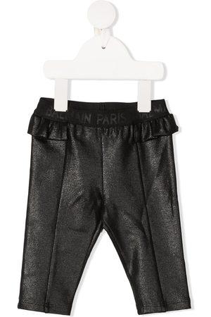 Balmain Ruffled slim-cut trousers