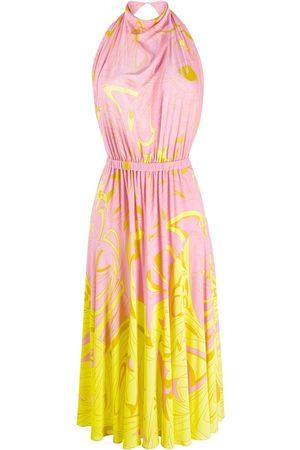 Emilio Pucci Women Halterneck Dresses - Dinamica degradè halterneck dress