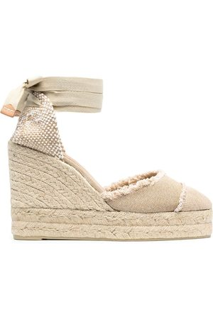 Castaner Wedge-heeled espadrille with ankle ties - Neutrals
