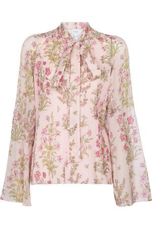Giambattista Valli Floral silk georgette tie-neck blouse