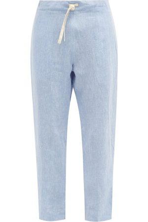 MARANÉ Drawstring-waist Linen-chambray Trousers - Mens - Light