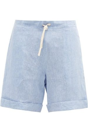 MARANÉ Drawstring-waist Linen-chambray Shorts - Mens - Light