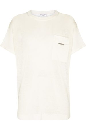 Brunello Cucinelli Embellished linen-blend T-shirt