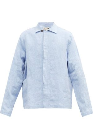 MARANÉ Spread-collar Linen-chambray Overshirt - Mens - Light