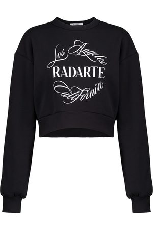 RODARTE Logo cropped cotton-blend sweatshirt