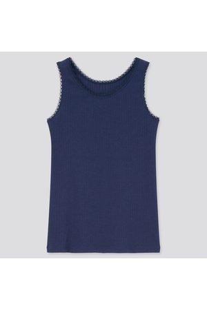 UNIQLO Girls Tank Tops - Girl's Airism Cotton Blend Pointelle Tank Top, , 3-4Y