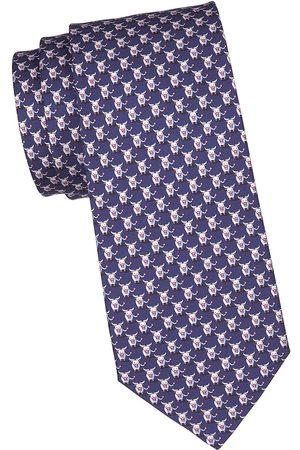 Salvatore Ferragamo Men's Bull Silk Tie - Navy