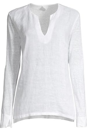 120% Lino 120% Lino Women's V-Neck Woven Jersey-Mix Linen Top - - Size Small
