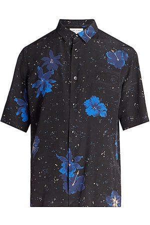 Saint Laurent Men's Short-Sleeve Floral-Print Shirt - Noir Bleu - Size 16.5