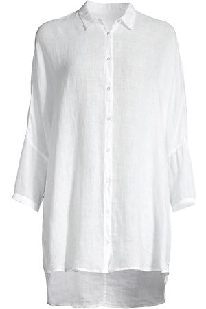 120% Lino 120% Lino Women's Relaxed-Fit Dolman-Sleeve Linen Shirt - - Size Small