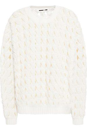 McQ Woman Open-knit Cotton Sweater Size S