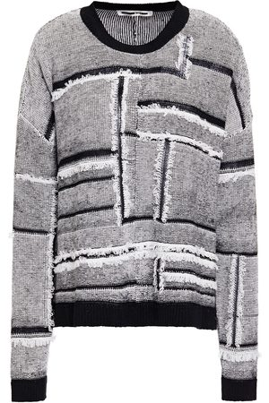 McQ Woman Frayed Patchwork-effect Linen And Cotton-blend Sweater Size L