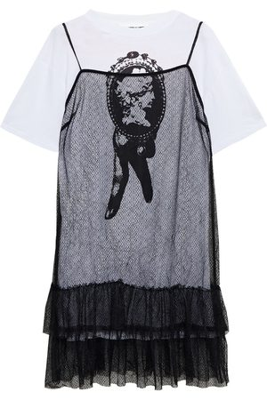 McQ Women Casual Dresses - Woman Layered Tiered Lace And Printed Cotton-jersey Mini Dress Size S