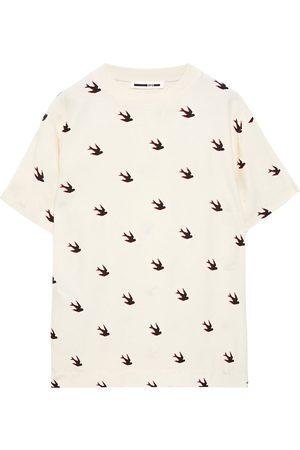 McQ Woman Printed Jersey-paneled Crepe De Chine T-shirt Ecru Size M
