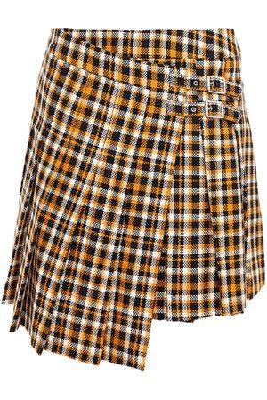 McQ Woman Pleated Checked Cotton-tweed Mini Wrap Skirt Saffron Size 38
