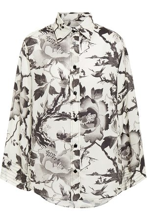 McQ Woman Floral-print Washed Crepe De Chine Shirt Ivory Size 38