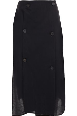McQ Woman Satin-paneled Button-detailed Wool-twill Wrap Skirt Size 38