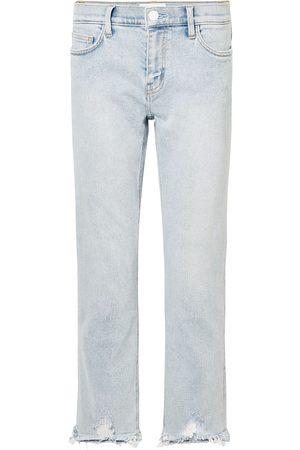 Current/Elliott Women High Waisted - Woman Cropped Distressed High-rise Straight-leg Jeans Light Denim Size 27