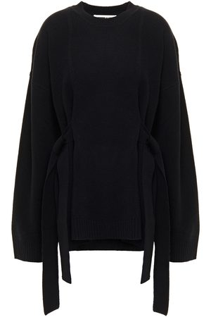 McQ Woman Tie-detailed Wool And Cashmere-blend Sweater Size L