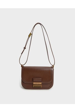 CHARLES & KEITH Women Purses - Metallic Push-Lock Crossbody Bag