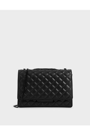 CHARLES & KEITH Women Shoulder Bags - Quilted Chain Strap Shoulder Bag