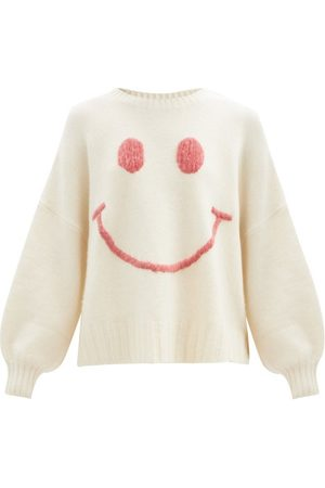 Joostricot Smiling Face-embroidered Merino Wool-blend Sweater - Womens - Ivory
