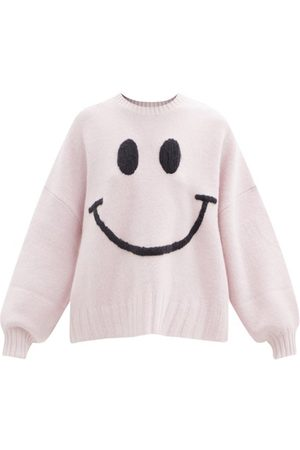 JoosTricot Smiley Face-embroidered Merino-wool Blend Sweater - Womens - Light