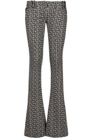 Balmain Monogram Wool Bootcut Pants