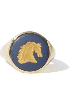 Ferian Women Rings - Horse Wedgwood Cameo & 9kt Signet Ring - Womens - Navy
