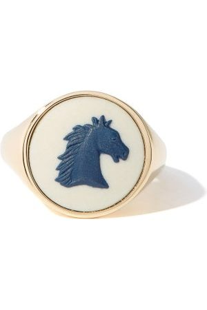Ferian Women Rings - Horse Wedgwood Cameo & 9kt Gold Signet Ring - Womens
