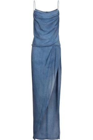 Balmain Denim Effect Silk Dress W/ Deep Slit