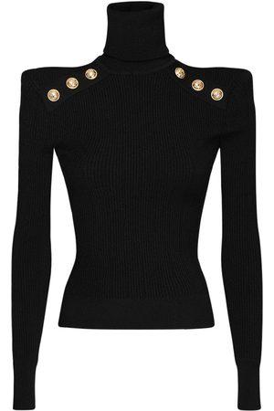 Balmain Women Turtlenecks - Viscose Blend Turtleneck Knit Sweater