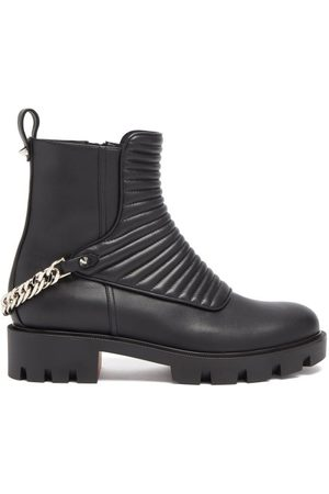 Christian Louboutin Maddic Max Chain-link Ribbed-leather Ankle Boots - Womens