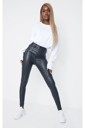 PRETTYLITTLETHING Tall Biker Coated Skinny Jeans