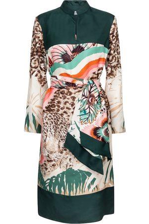 Salvatore Ferragamo Printed silk twill midi dress